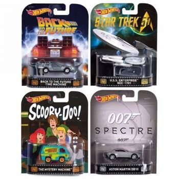 Hotwheels 2017 Retro Entertainment Series Wave 2 1.64 Scale Diecast Model Set Of 4 by Mattel.
